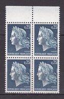 N° 1535 Type Marioanne De Cheffer 25c Bleu Bloc De 4 Timbres Neuf Impeccable - France