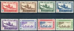 1942 - COSTA DE MARFIL / COTE D'IVOIRE ,  YV. 10 / 17 AÉREOS ** , AVIÓN EN VUELO , CARAVANA - Costa De Marfil (1892-1944)