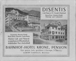 Disentis - Bahnhof - Hotel - Krone - Pension - Graubunden - Schweiz - Oberalp - Lukmanier (14.5 X 11.5) - Grisons - Tourism Brochures