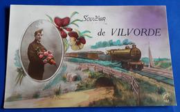 """CP """"SOUVENIR De VILVORDE"""" (Eisenbahn, Zug, Train, Soldat, Mann, Soldier)  # Alte Künstlerkarte, Ungelaufen # [19-403] - 1900-1949"""