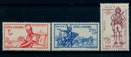 1941 - COSTA DE MARFIL / COTE D'IVOIRE ,  YV. 162 / 164 * , DEFENSA DEL IMPERIO , TEMA MILITAR - Costa De Marfil (1892-1944)