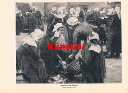 1191 Hugo Poll Fischmarkt Bretagne Markt Marktfrauen Druck 1913 !! - Drucke