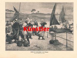 1192 L. Gros Bretagne Sardinenfischer Boote Fischerei Druck 1913 !! - Drucke