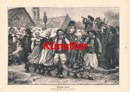 1193 Deyrolle Bretagne Bretonische Gavotte Druck 1897 !! - Drucke