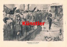 1194 Sabattier Verkehrsstockung Boulevard Paris Druck 1914 !! - Drucke
