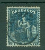 Barbados: 1874   Britannia    SG66    1d   Deep Blue   [Perf: 14]      Used - Barbades (...-1966)