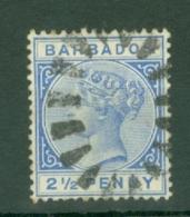 Barbados: 1882/86   QV    SG93    2½d   Ultramarine     Used - Barbados (...-1966)
