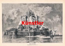 1196 Püttner Mont Saint Michel Abtei Segelschiff Druck 1887 !! - Drucke
