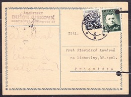 SLOVAKIA 1940, Postal Leaflet , Posted To CARPATHIA PRIEVIDZA. - Slovacchia