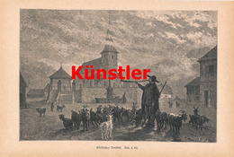 1199 F.Lir Elsass Dorfbild Ziegenherde Hirte Kunstblatt 1888 !! - Drucke