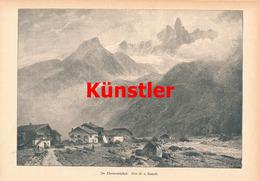 1200 Kameke Chamonixtal Chamonix Montblanc Kunstblatt 1888 !! - Drucke