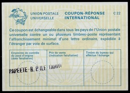 TAHITI / POLYNESIE FRANCAISE La22 International Reply Coupon ReponseIRC IAS Antwortschein O PAPEETE RP ILE TAHITI - Tahiti