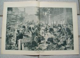 1204 L`hermitte Markthallen Paris Marktfrauen Großbild Druck 1914 !! - Drucke