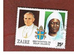 ZAIRE  -  SG 1264 -  1986 SISTER ANNARITE NEUGAPETA BEATIFICATION: SISTER ANNARITE & GIOVANNI PAOLO II   - USED ° - Zaire
