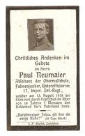 MILITARIA - CARTE De DEUIL 13 AOUT 1918 SERGENT PAUL NEUMAIER 17 BAYER Inf-Regt ELINCOURT - UNTEROFFIZIER - 1914-18