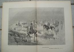 1207 Franz Roubaud Russen Vor Kars Kosaken Großbild Druck 1902 !! - Drucke