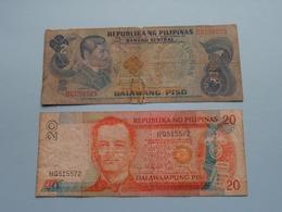 2 Dalawang Piso ( DC056525 ) & 20 Dalawampung Piso ( HQ515572 ) ( For Grade, Please See Photo ) ! - Philippines