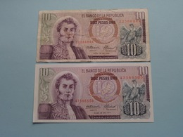 10 Diez Pesos Oro ( 22366844 - 47566505 ) 1974 - Colombia ( For Grade, Please See Photo ) 2 Pcs.! - Colombie
