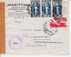 Trieste A. Busta Per L'Austria, Censurata,  Affrancata Con Sassone 96 (x 3) E PA20 (05309) - 7. Trieste