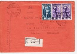 Trieste A. Busta Raccomandata Per Germania, Affrancata Con Sassone 96 E 102 (x2) (05310) - Trieste