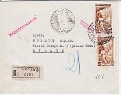 Trieste A. Busta Raccomandata, Affrancata Con Sassone 101 (x2) (05311) - 7. Trieste