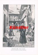 1216 August Mandlick Wien Vorstadt Straßenscene Druck 1903 !! - Drucke