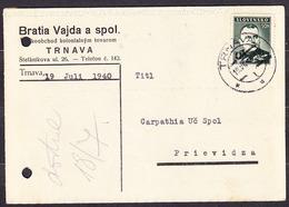 SLOVAKIA 1940, Company Postal Leaflet ( BROTHERS VAJDA A SPOL., WAREHOUSE - TRNAVA ), Posted To CARPATHIA PRIEVIDZA. - Slovaquie