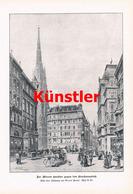 1218 Erwin Pendl Wiener Graben Stephansplatz Wien Druck 1903 !! - Drucke