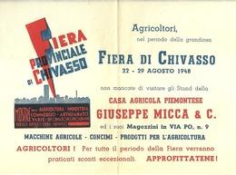 """5099 """"GIUSEPPE MICCA & C.-CHIVASSO-INVITO ALLA FIERA PROVINCIALE DI CHIVASSO-22/29 AGOSTO 1948 """"  ORIGINALE - Italy"""