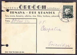 SLOVAKIA 1940, Company Postal Leaflet ( B. ORDOGH, DELICATESSEN SHOP - TRNAVA ), Posted To CARPATHIA PRIEVIDZA. - Slovaquie