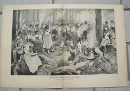 1228 Richard Mahn Tanz Im Allgäu Waldfest 40 X 27 Cm Druck 1901 !! - Drucke
