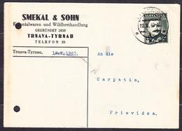 SLOVAKIA 1940, Company Postal Leaflet ( SMEKAL & SOHN, KOLONIALWAREN - TRNAVA ), Posted To CARPATHIA PRIEVIDZA. - Slovaquie
