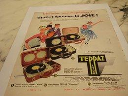 ANCIENNE PUBLICITE HONNEUR AUX BACHELIERS ELECTROPHONE TEPPAZ  1956 - Autres