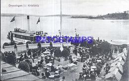 119050 NORWAY CHRISTIANIA DRONNINGEN DOCK & SHIP POSTAL POSTCARD - Noruega