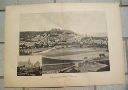 1231 Marburg Schloss Stadtbild 40 X 28 Cm Druck 1897 !! - Historische Dokumente