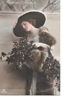 Woman With Beautiful Hat And Mink Stole, Femme Avec Chapeau, Frau Mit Elegant Hut, Photocard - Mode