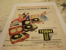 ANCIENNE PUBLICITE HONNEUR AUX BACHELIERS ELECTROPHONE TEPPAZ  1956 - Advertising