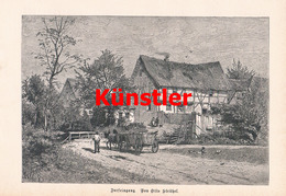 1238 Otto Strützel Dorfeingang Fuhrwerk Dorfbild Kunstblatt 1882 !! - Drucke
