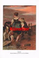 1240 Wilhelm Von Diez Heimtrieb Magd Kinder Kunstblatt 1905 !! - Drucke