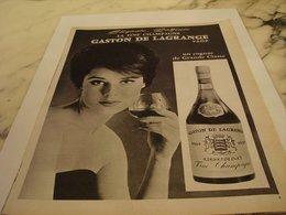 ANCIENNE PUBLICITE  FINE CHAMPAGNE COGNAC GASTON DE LAGRANGE 1963 - Alcools