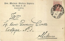 """5104 """"AVV. MICHELE MEDICA SIPIONE-VIA AMATO 30-CATANIA-11/2/1924""""-BIGLIETTO ORIG. - Italy"""