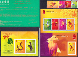 Hong Kong 2002 Chinese New Year Of The Horse Compl. Set Mi 1010-1013, MS 96, 97 +gold Foil MS 99 MNH ** - 1997-... Chinese Admnistrative Region