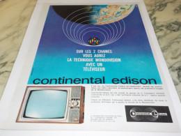ANCIENNE PUBLICITE TELEVISION CONTINENTAL EDISON  LES 2 CHAINES 1963 - Autres