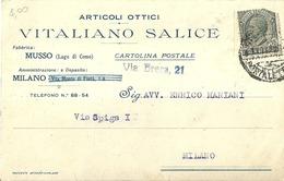 """5106 """"ARTICOLI OTTICI-VITALIANO SALICE-MILANO-1922 """"-BIGLIETTO ORIG. - Italy"""