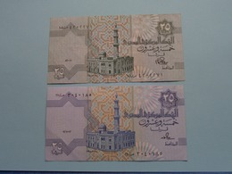 2 X Twenty-Five PIASTRES 25 / Central Bank Of EGYPT ( For Grade, Please See Photo ) ! - Egypte