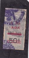 Timbre Fiscal A.O.F Médaillon De Tasset Grand Format   1.5  Frsur  50 C Surcharge Rouge - A.O.F. (1934-1959)