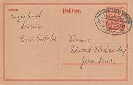 Allemagne Ambulant Naumburg-Cölleda Sur Entier Postal 1921 - Germany