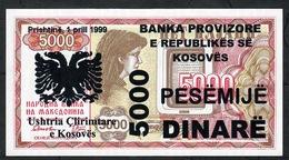 KOSOVO NLP 5000 DINARE 1999 PROVISIONAL ISSUE  UNC. - Billetes