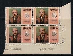 Rhodesie Du Sud // Rhodesia // 1974 // Georges Pauling MNH ** No. Y&T 233 En Bloc De 4 - Southern Rhodesia (...-1964)