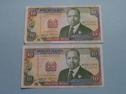 2 X 10 Ten SHILLINGS ( Shilingi Kumi) Central Bank Of KENYA ( For Grade, Please See Photo ) ! - Kenya